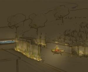Skizze: Garten bei Nacht