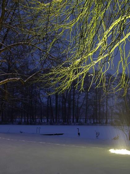 Bodenstrahler im Schnee